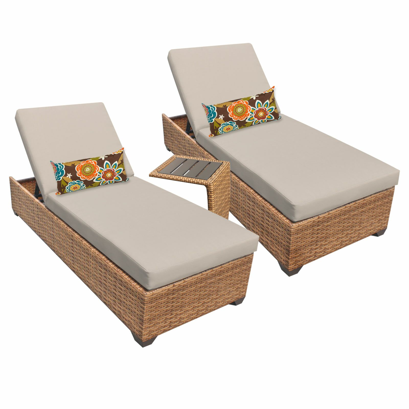 Asellus 3 Piece Chaise Lounge Set with Cushion Color: Beige
