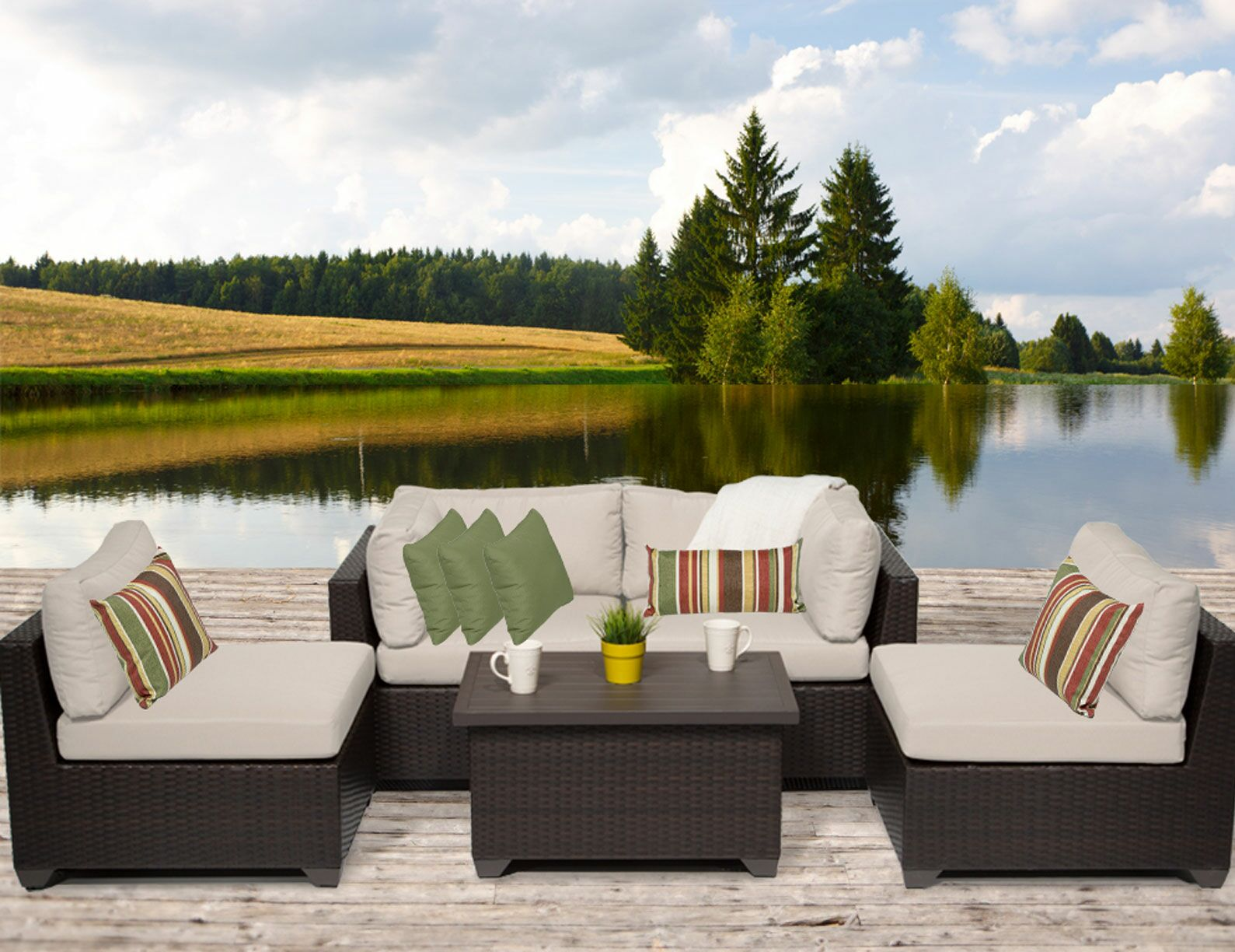 Belle 5 Piece Sofa Set with Cushions Color: Beige