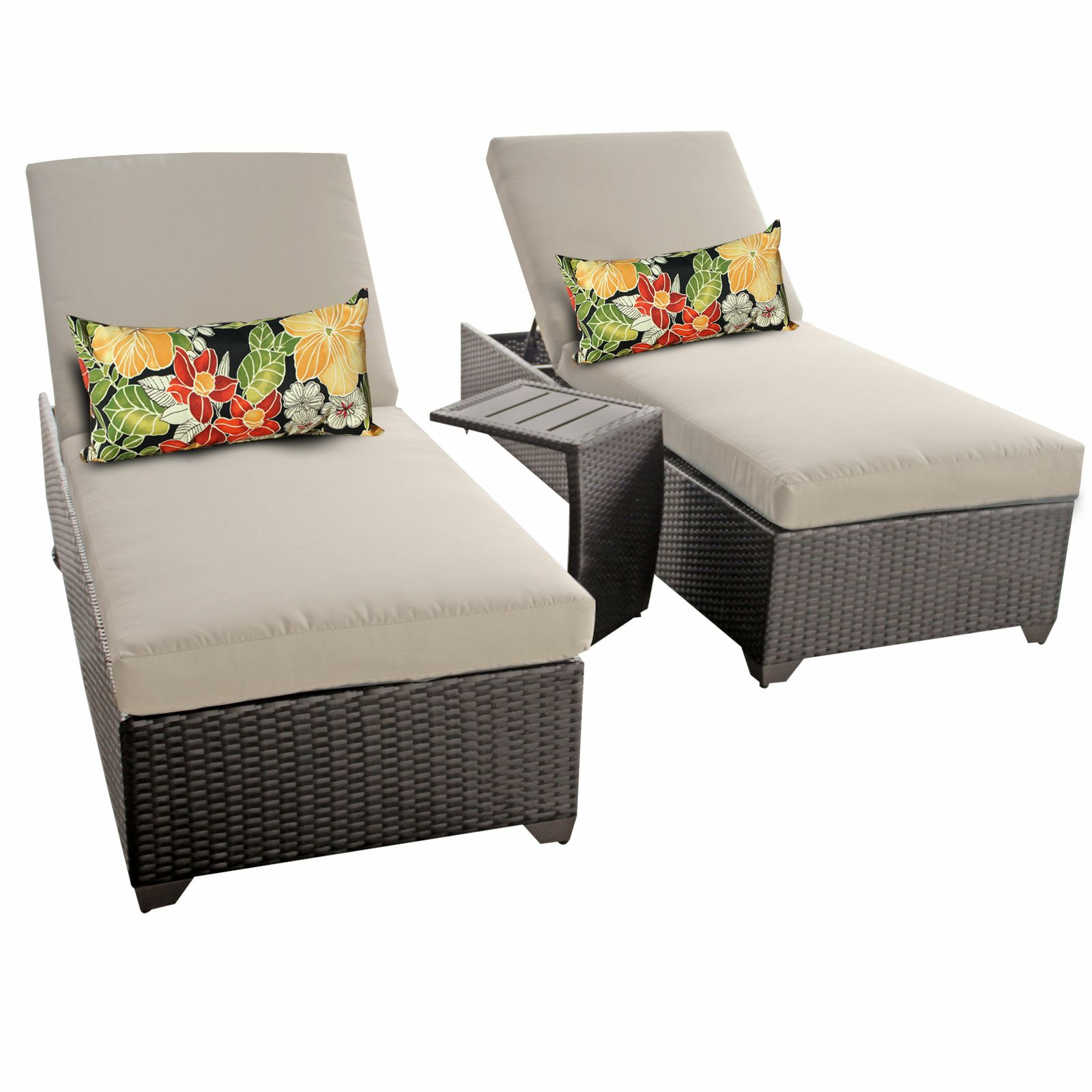 Classic 3 Piece Chaise Lounge Set with Cushion Color: Beige