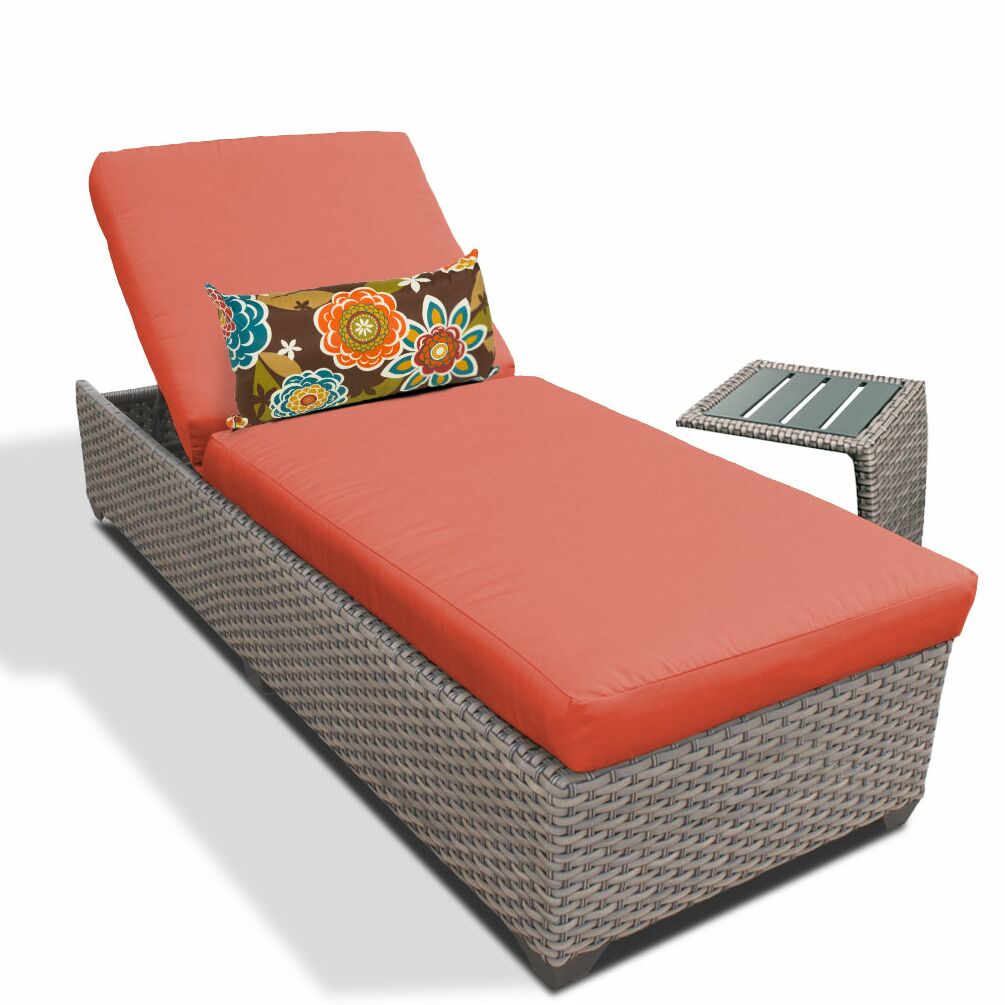 2 Piece Chaise Lounge Set with Cushion Fabric: Tangerine