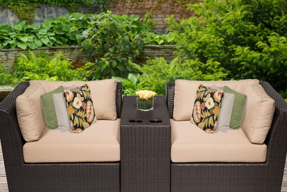 Barbados 3 Piece Rattan Conversation Set with Cushions Color: Wheat