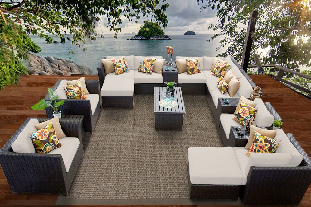 Barbados 17 Piece Rattan Sectional Set with Cushions Fabric: Beige