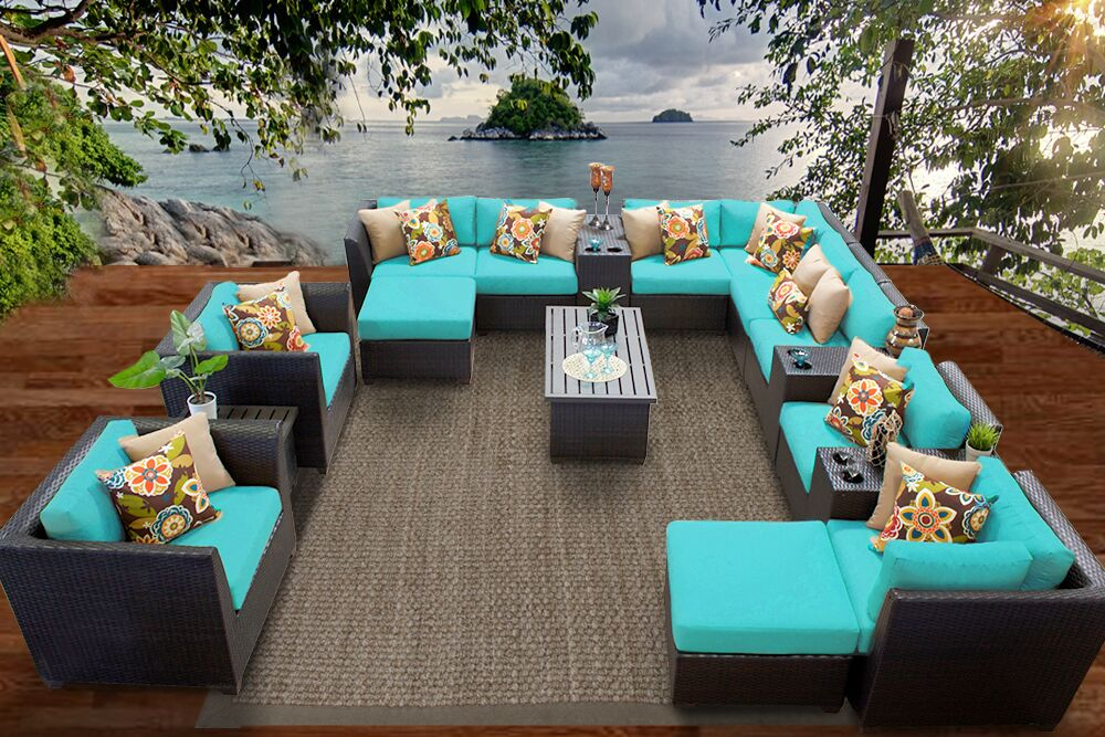 Barbados 17 Piece Rattan Sectional Set with Cushions Fabric: Aruba