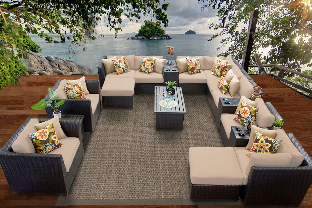 Barbados 17 Piece Rattan Sectional Set with Cushions Fabric: Wheat