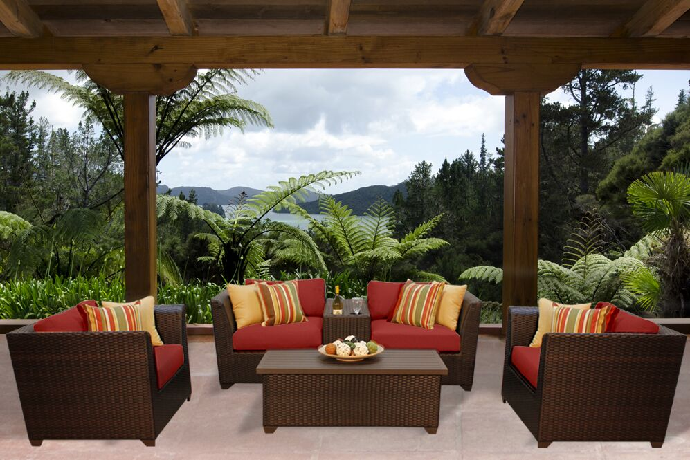 Barbados 6 Piece Rattan Sofa Set with Cushions Color: Terracotta