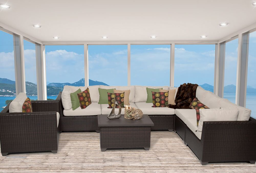Belle 8 Piece Sectional Set with Cushions Fabric: Beige