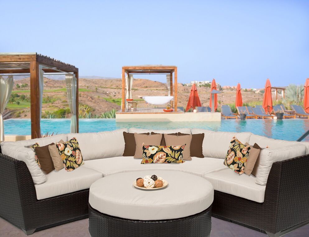 Barbados 4 Piece Rattan Sectional Set with Cushions Color: Beige