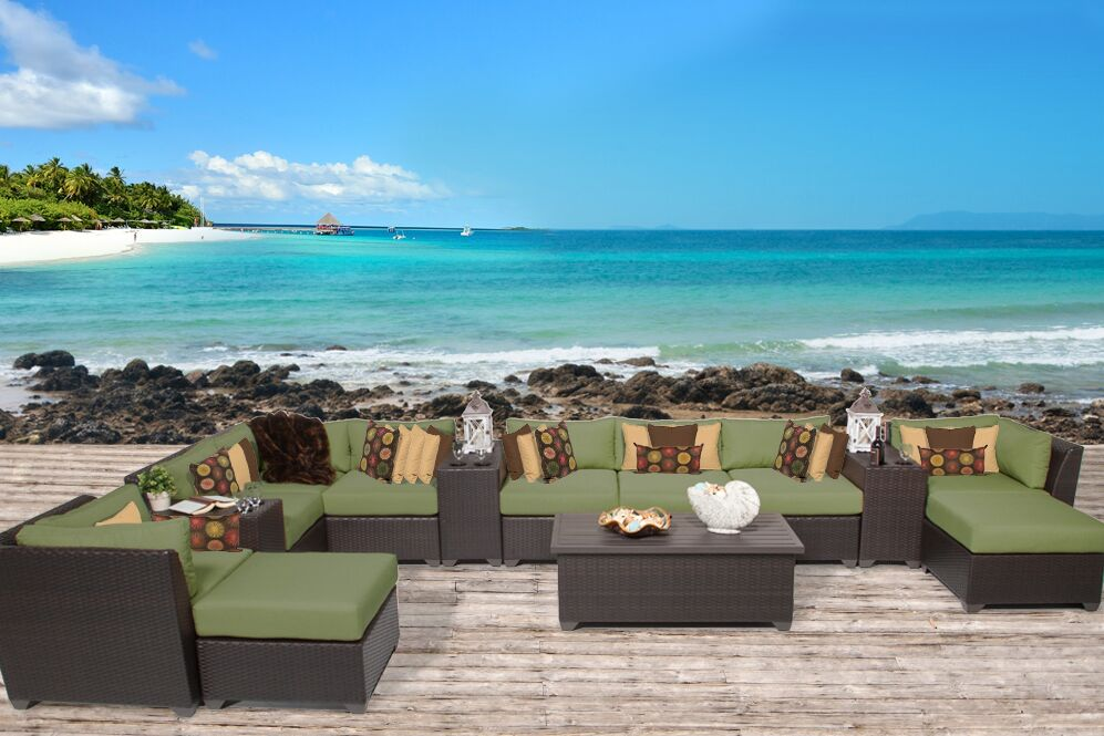 Barbados 14 Piece Rattan Sectional Set with Cushions Fabric: Cilantro