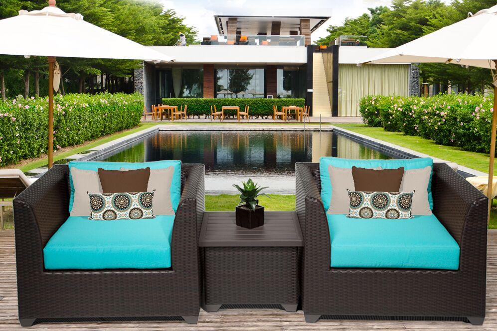 Barbados 3 Piece Rattan Conversation Set with Cushions Color: Aruba