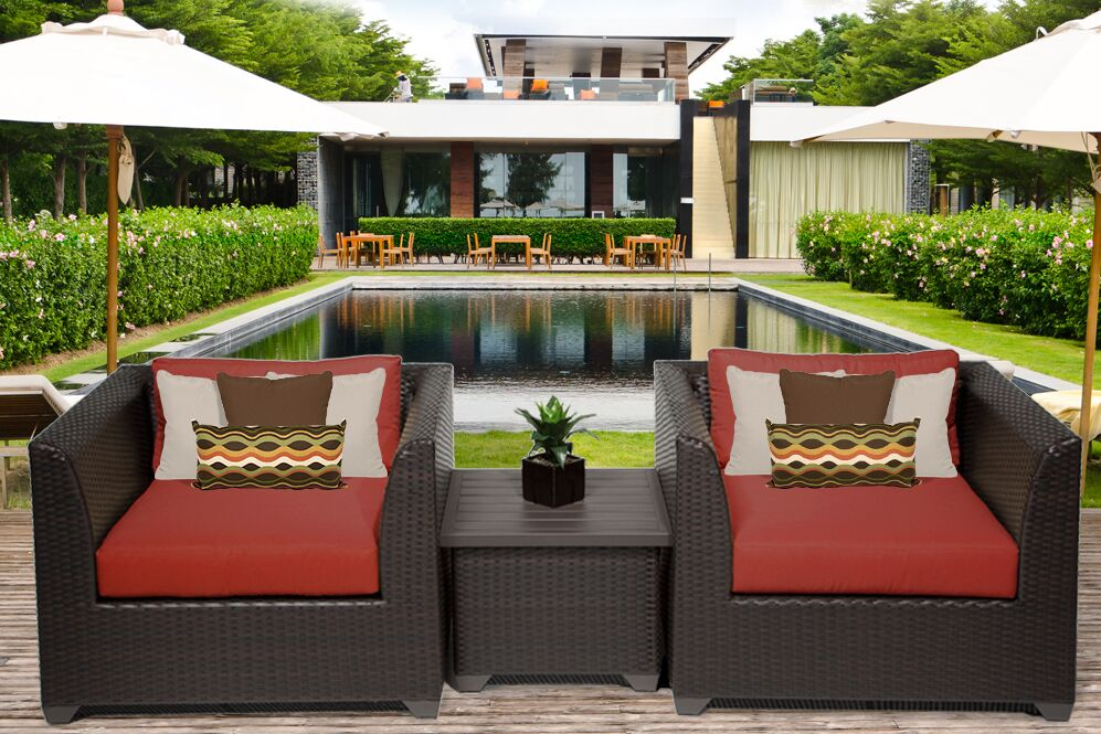 Barbados 3 Piece Rattan Conversation Set with Cushions Color: Terracotta