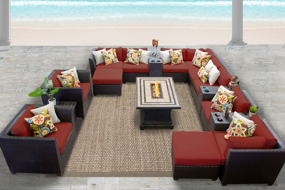 Barbados 17 Piece Rattan Sectional Set with Cushions Fabric: Terracotta