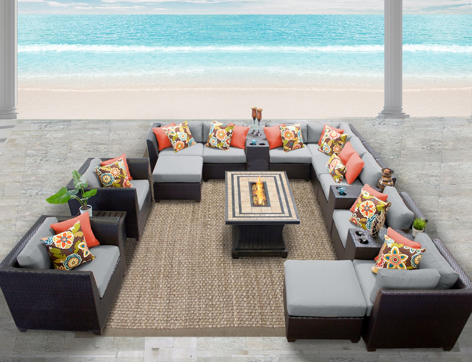 Barbados 17 Piece Rattan Sectional Set with Cushions Fabric: Gray