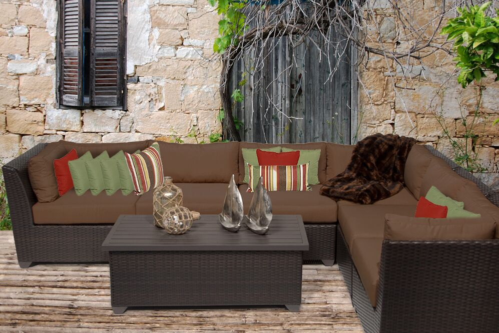 Barbados 7 Piece Rattan Sectional Set with Cushions Color: Cocoa