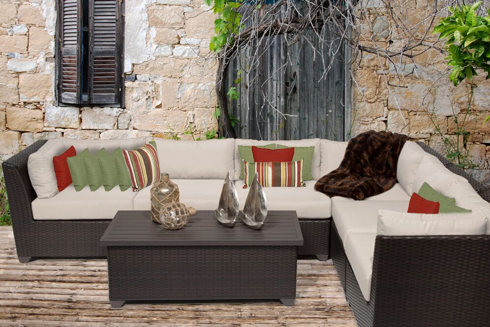 Barbados 7 Piece Rattan Sectional Set with Cushions Color: Beige