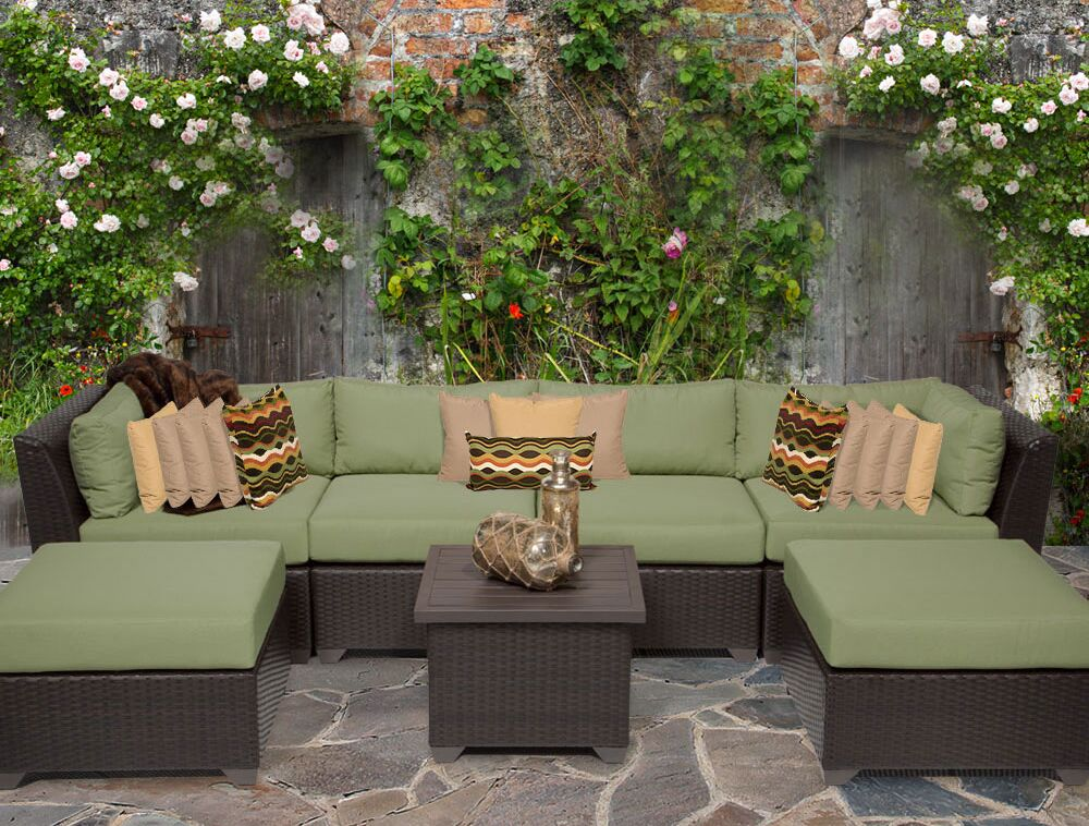 Barbados 7 Piece Rattan Sectional Set with Cushions Color: Cilantro