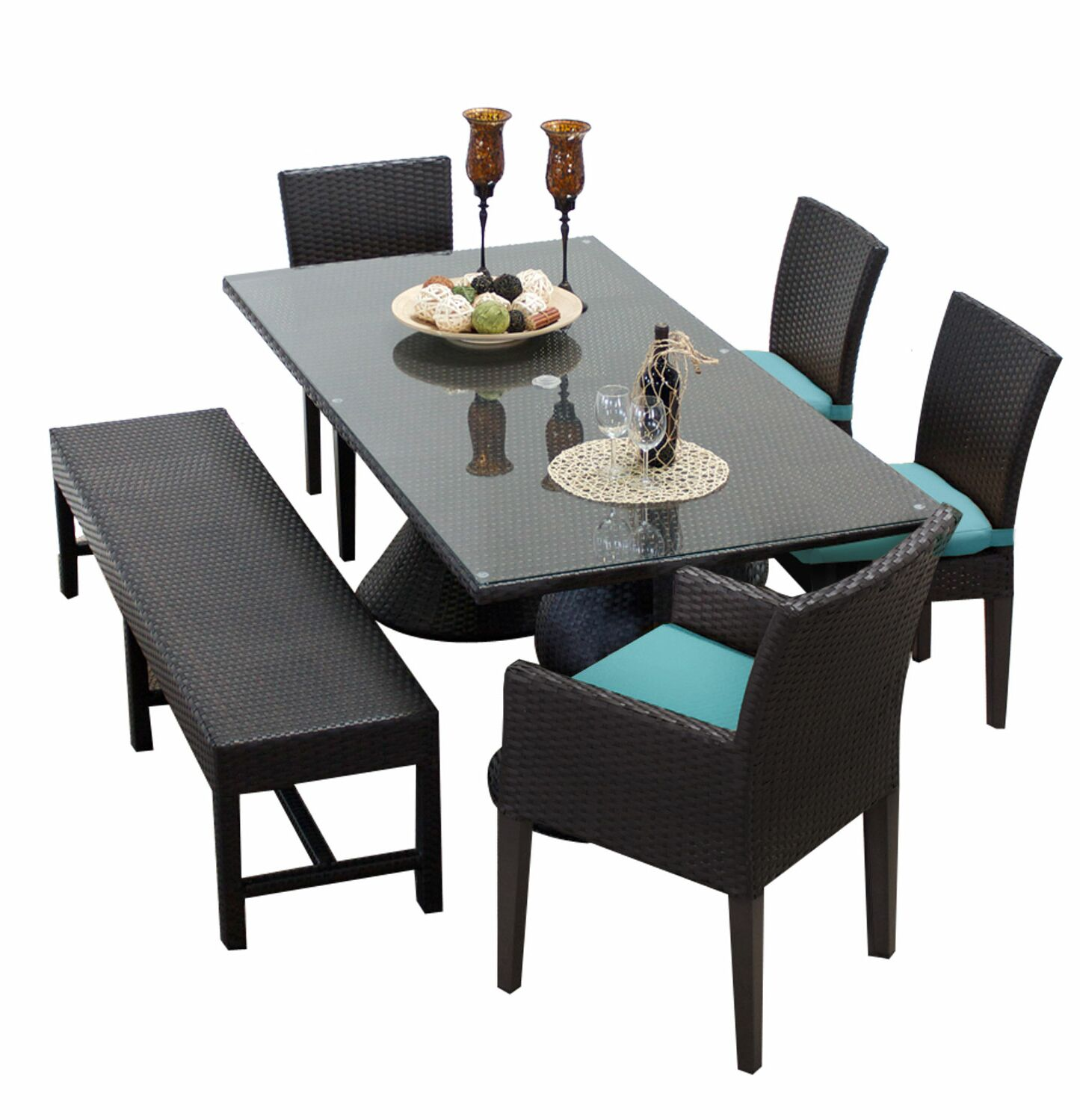 Napa 6 Piece Dining Set with Cushions Cushion Color: Navy
