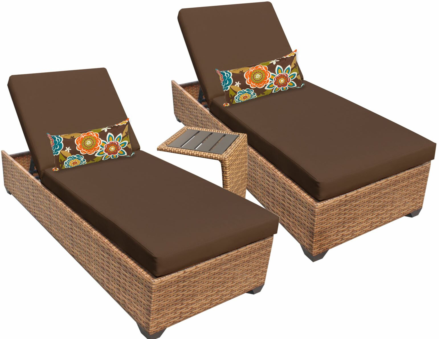 Asellus 3 Piece Chaise Lounge Set with Cushion Color: Cocoa