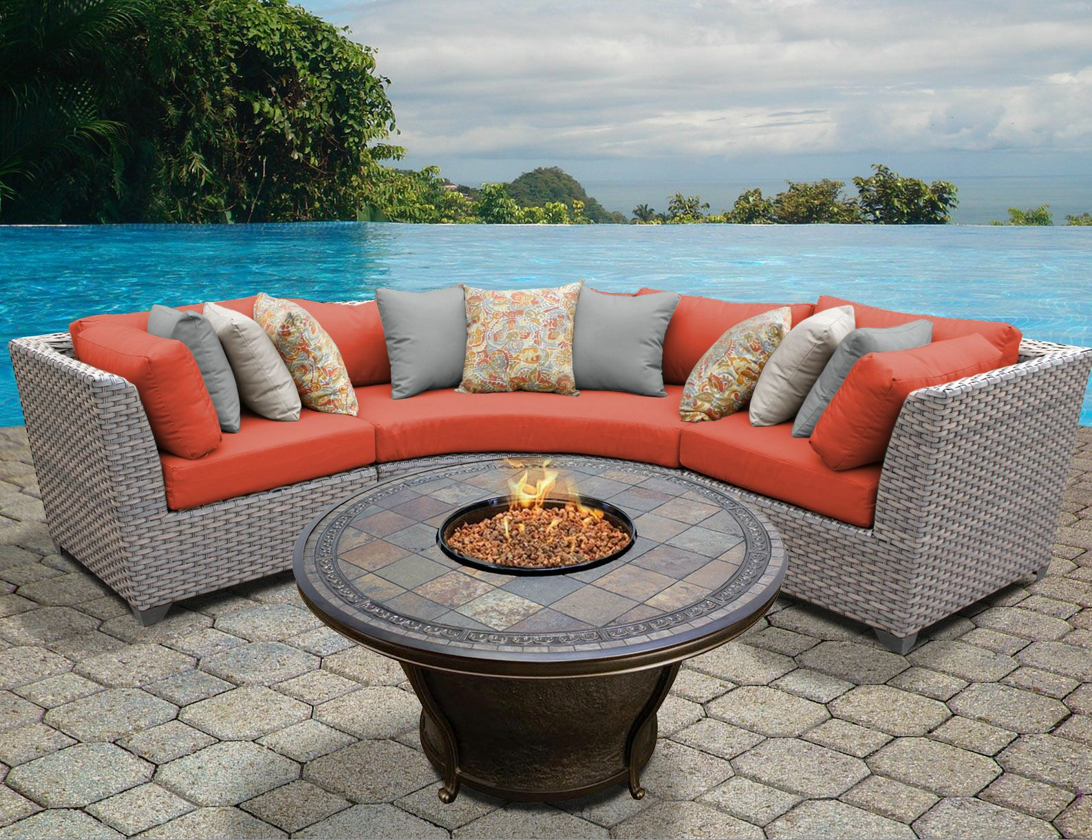 Florence 4 Piece Sectional Set with Cushions Color: Tangerine