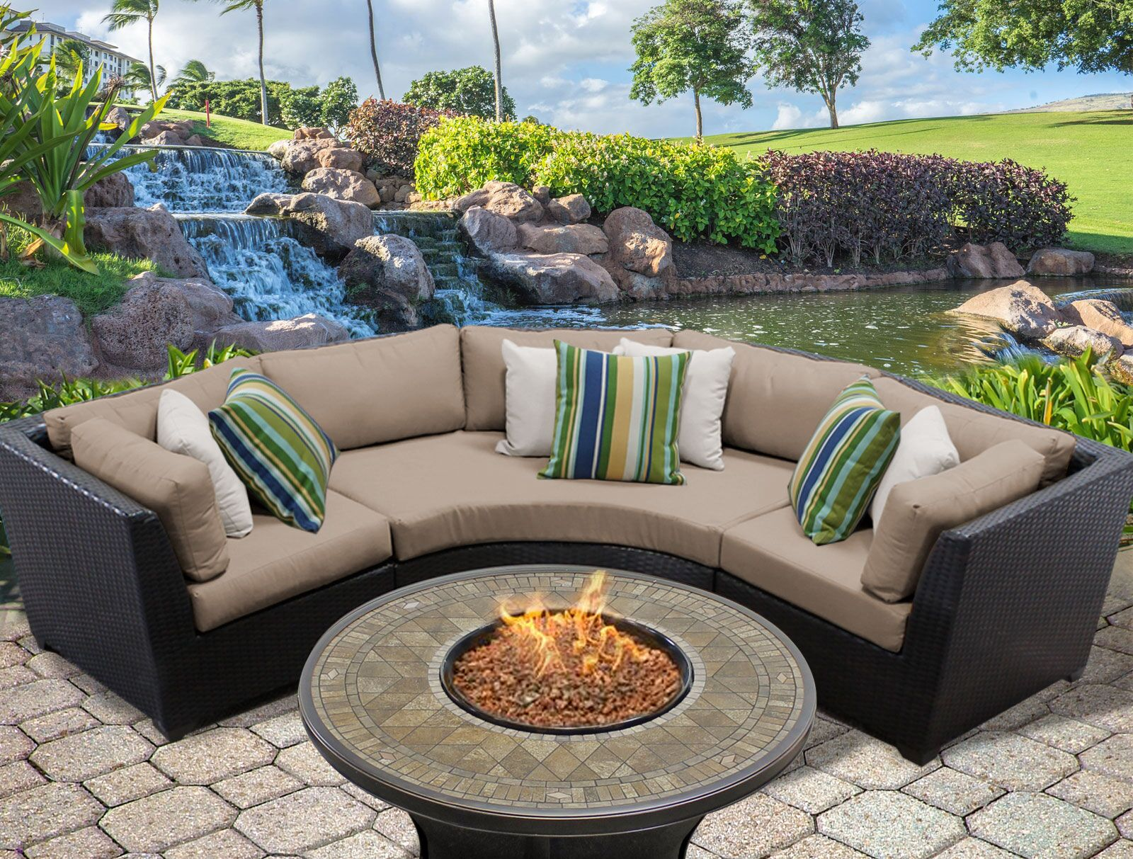 Barbados 4 Piece Sectional Set with Cushions Color: Wheat