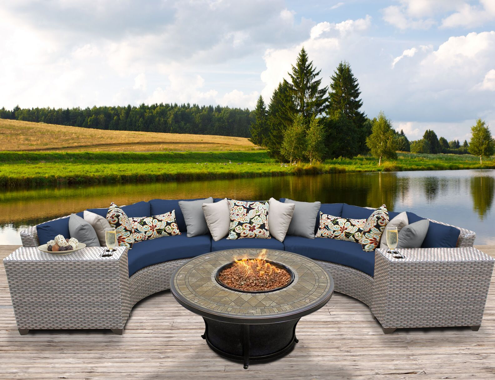 Florence 6 Piece Sectional Set with Cushions Fabric: Navy