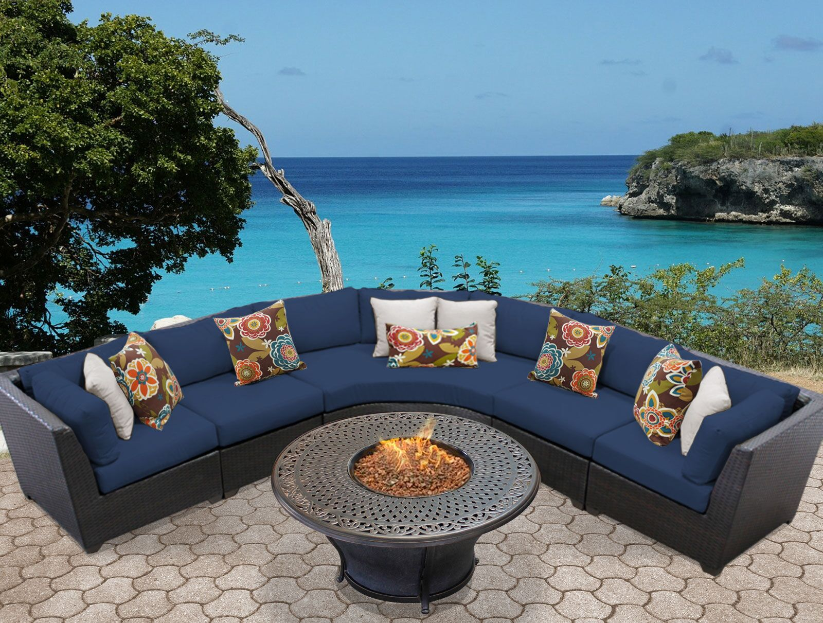 Barbados 6 Piece Sectional Set with Cushions Color: Navy