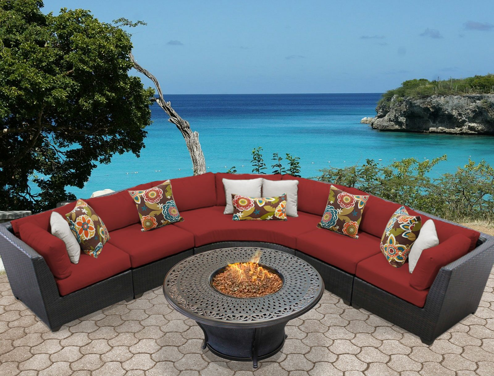 Barbados 6 Piece Sectional Set with Cushions Color: Terracotta
