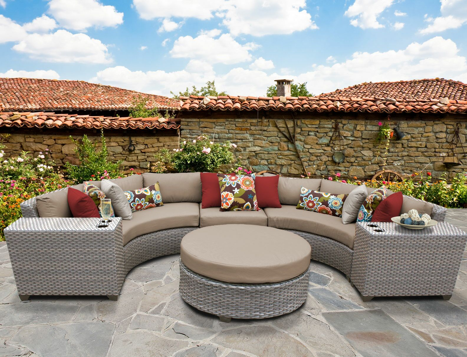 Florence 6 Piece Sectional Set with Cushions Fabric: Wheat