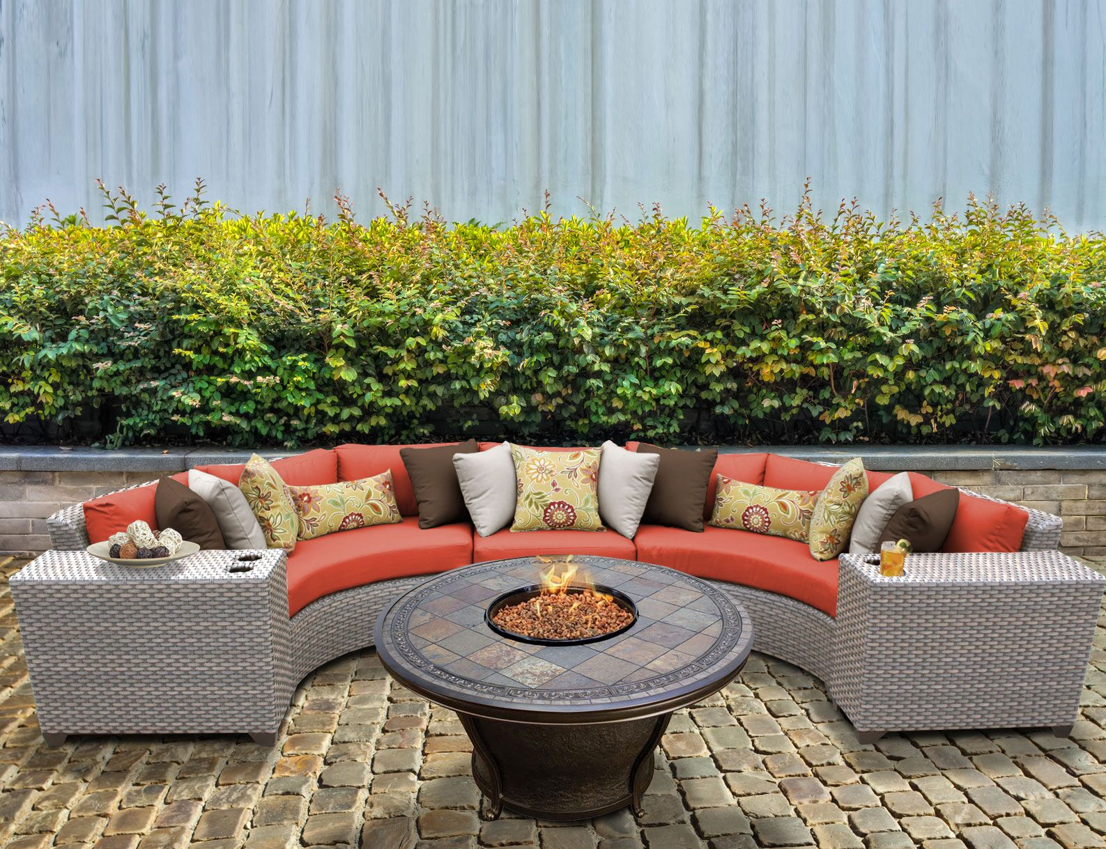 Florence 6 Piece Sectional Set with Cushions Fabric: Tangerine