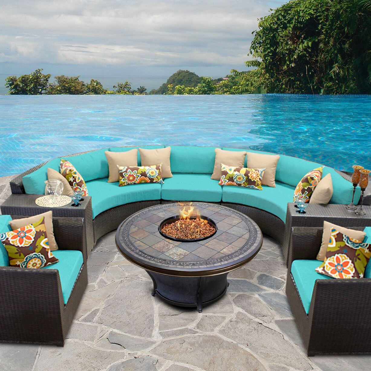 Barbados 8 Piece Sectional Set with Cushions Color: Aruba