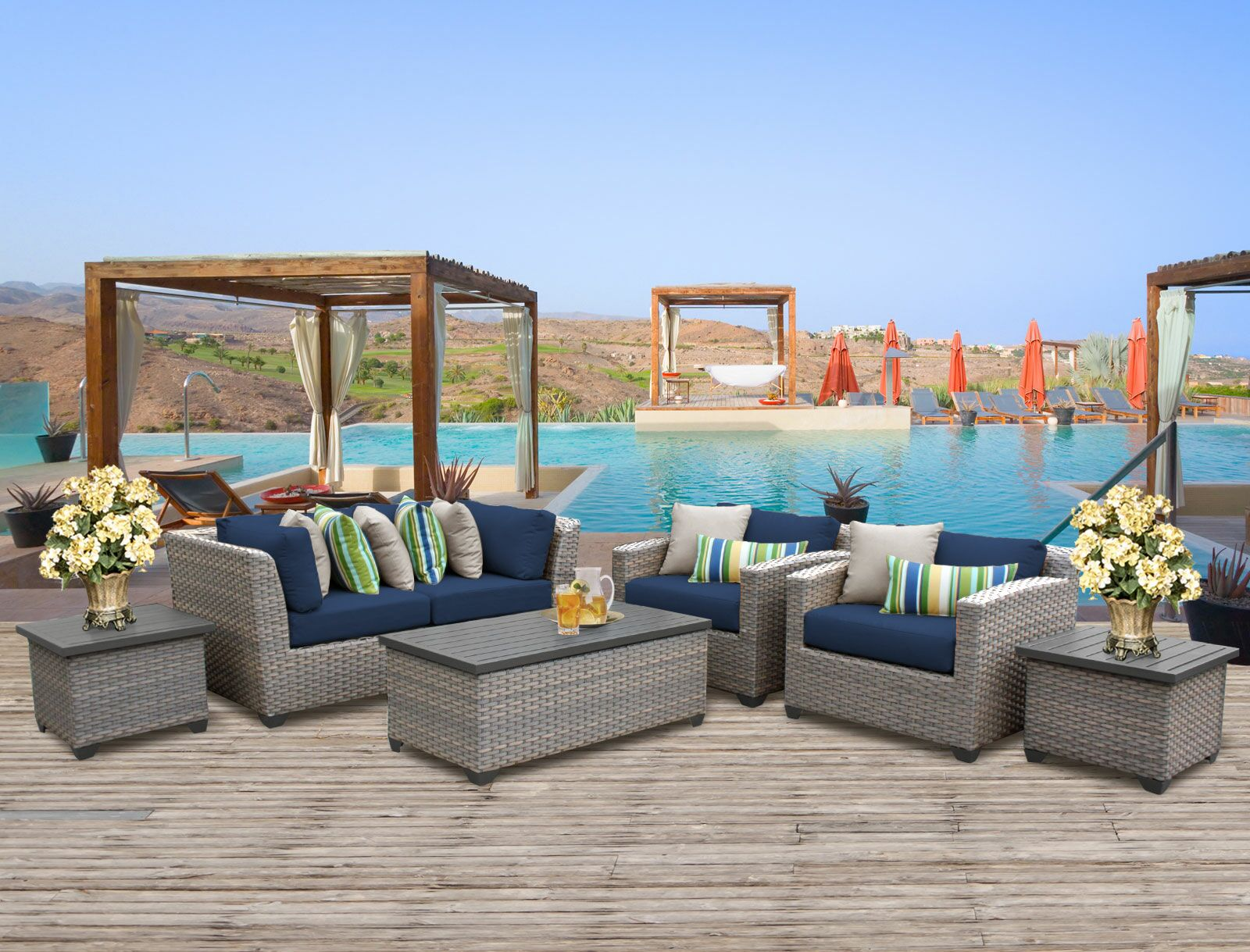 Florence 7 Piece Sofa Set with Cushions Fabric: Navy