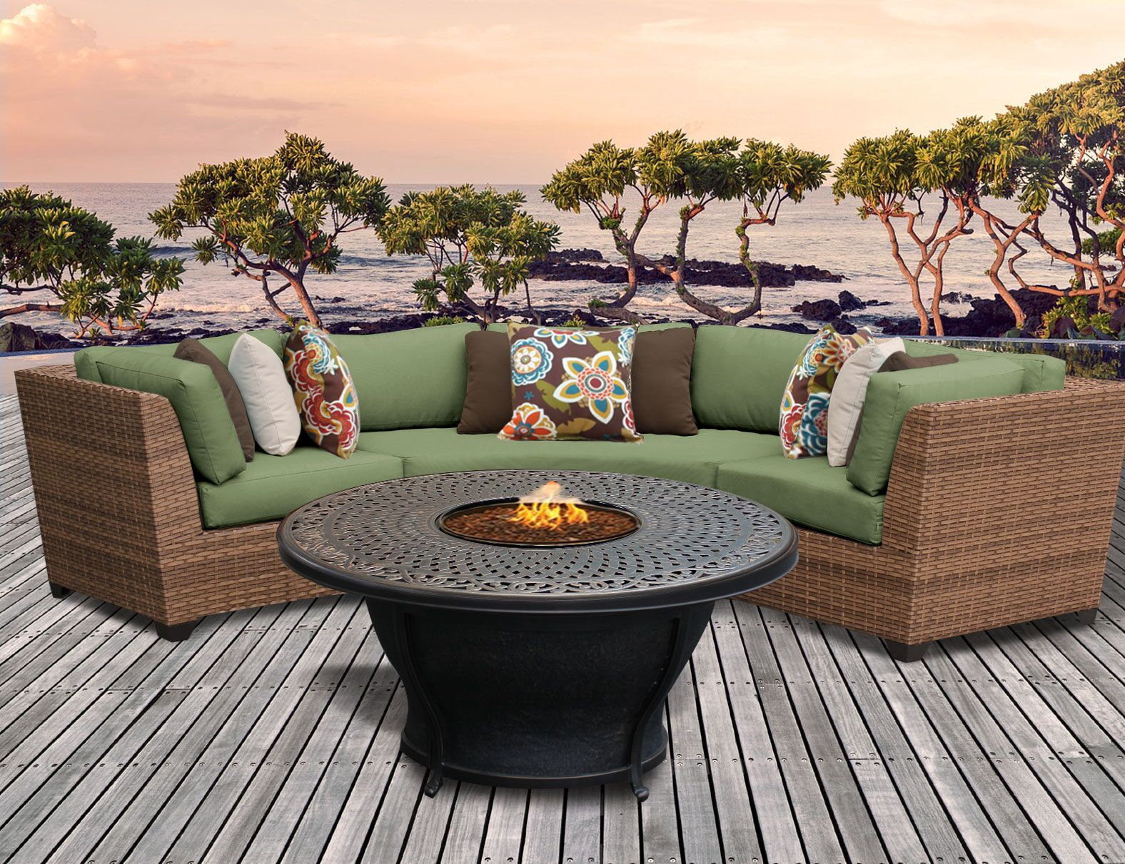 Asellus 4 Piece Sectional Set with Cushions Color: Cilantro