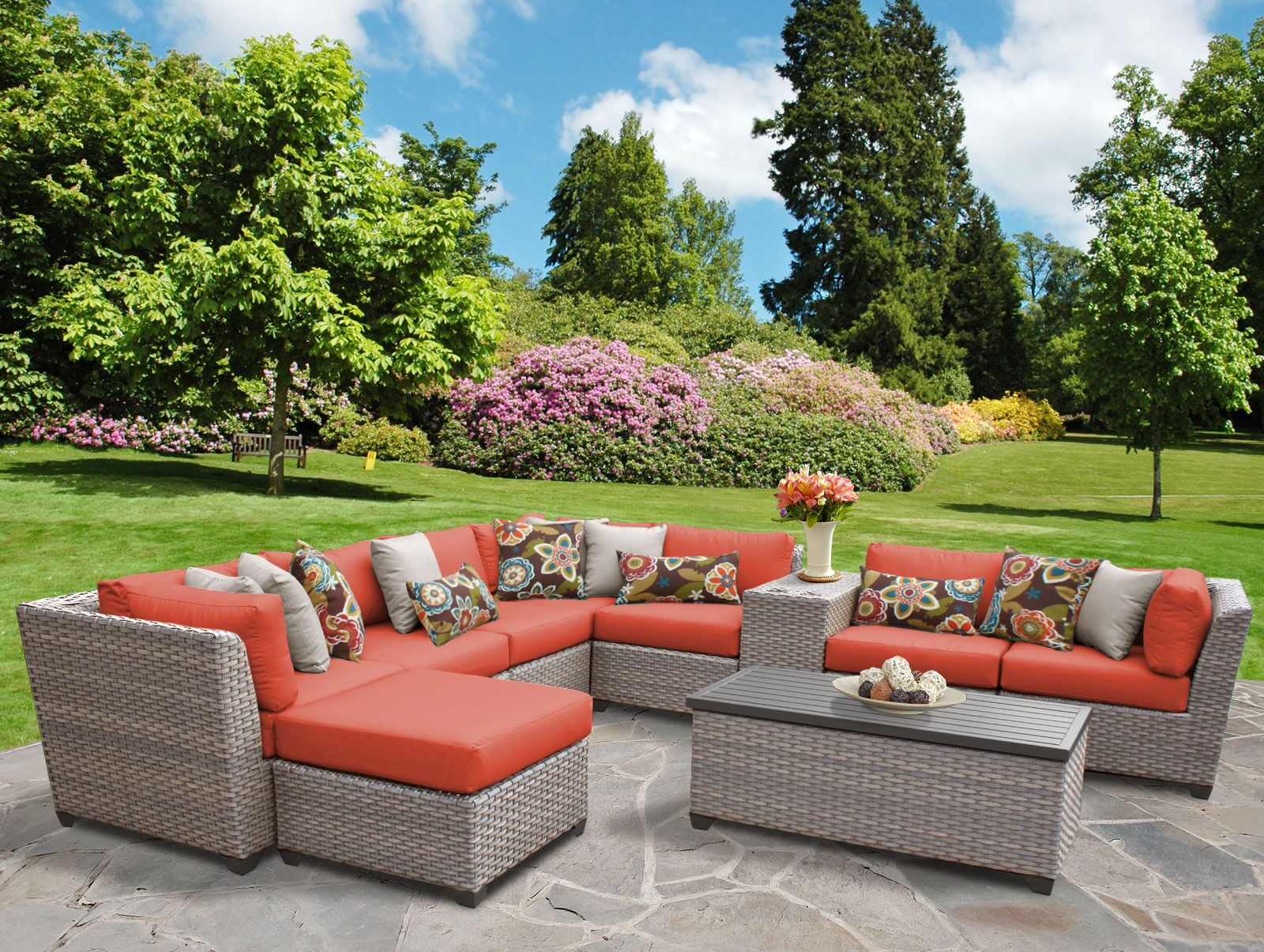 Florence 10 Piece Sectional Set with Cushions Fabric: Tangerine
