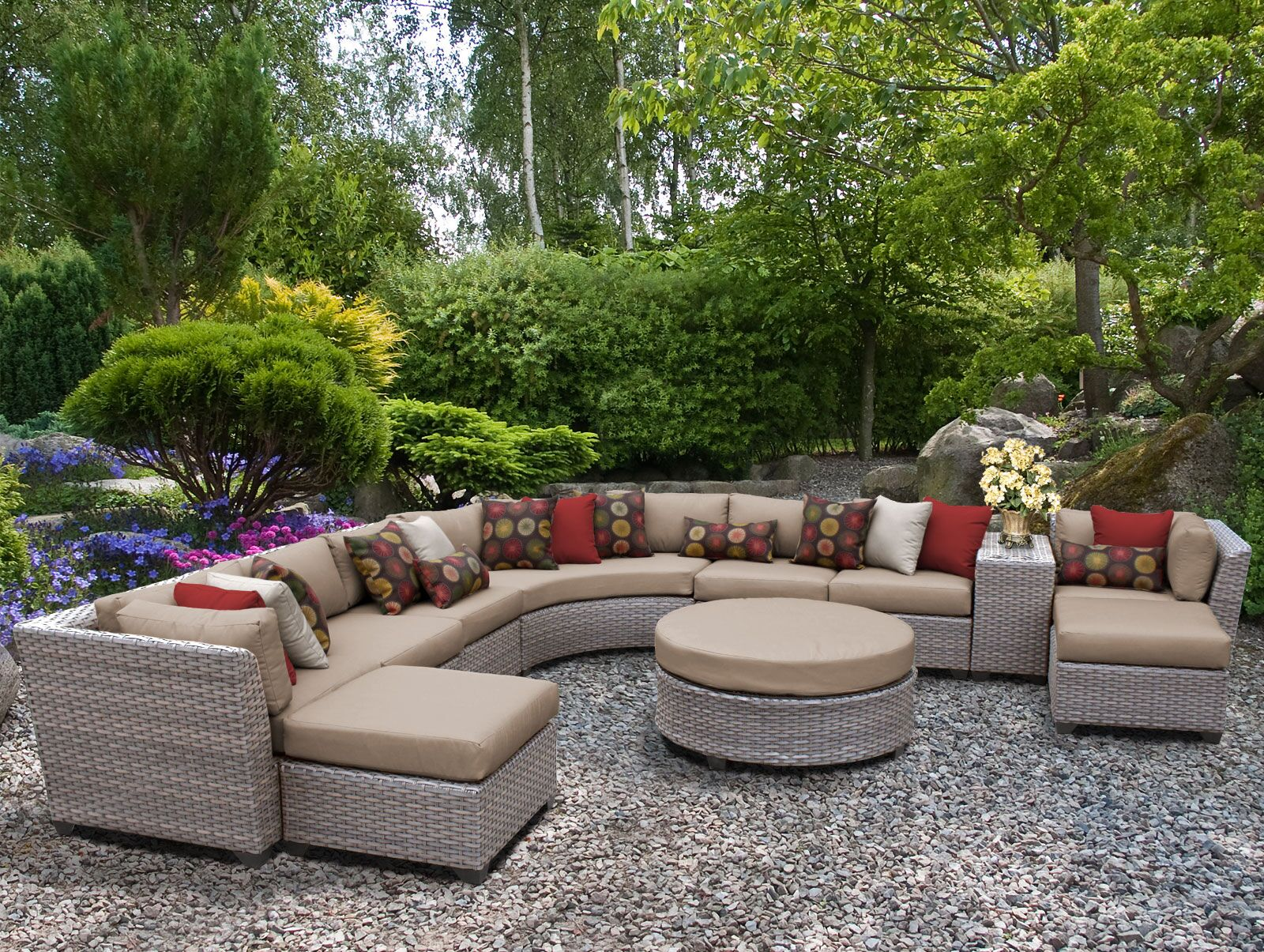 Florence 11 Piece Sectional Set with Cushions Fabric: Wheat