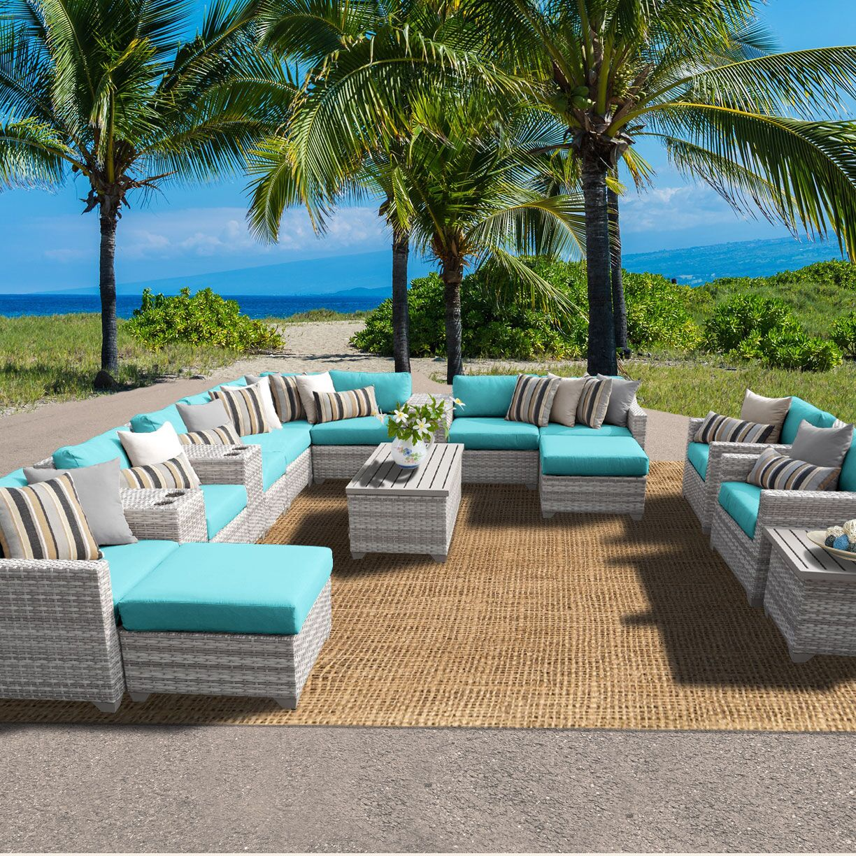 Ansonia 17 Piece Sectional Set with Cushions Color: Aruba