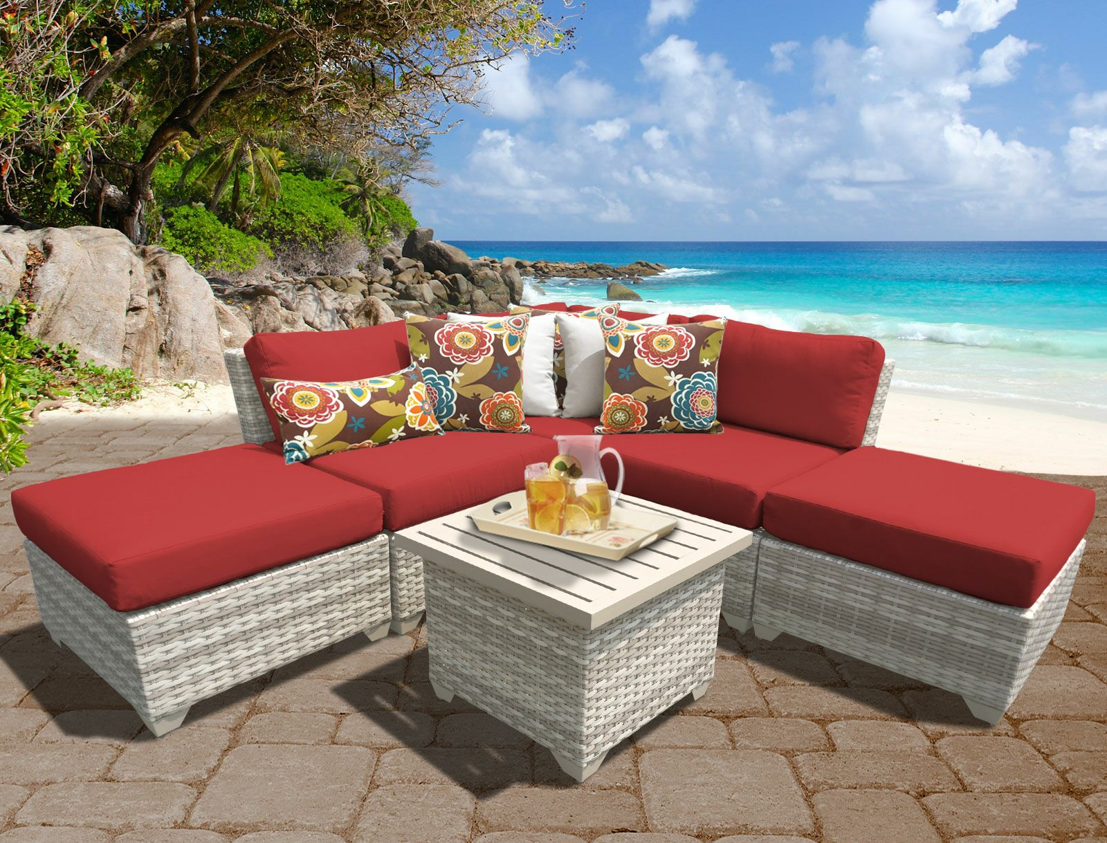 Ansonia 6 Piece Sectional Set with Cushions Color: Terracotta