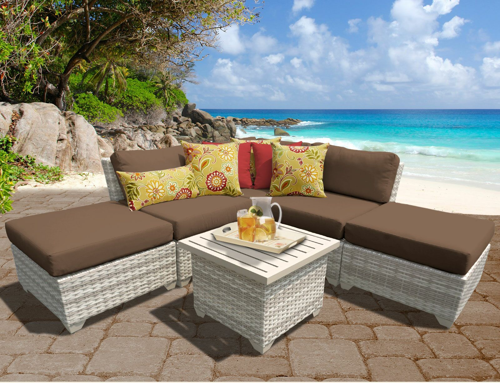 Ansonia 6 Piece Sectional Set with Cushions Color: Cocoa