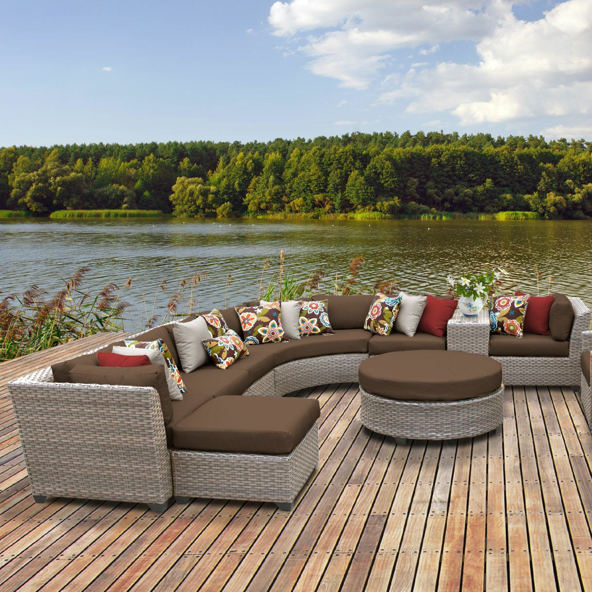 Florence 12 Piece Sectional Set with Cushions Fabric: Cocoa