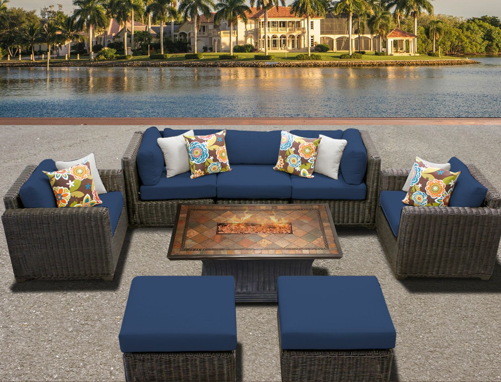 Eldredge 8 Piece Sectional Set with Cushions Color: Tangerine