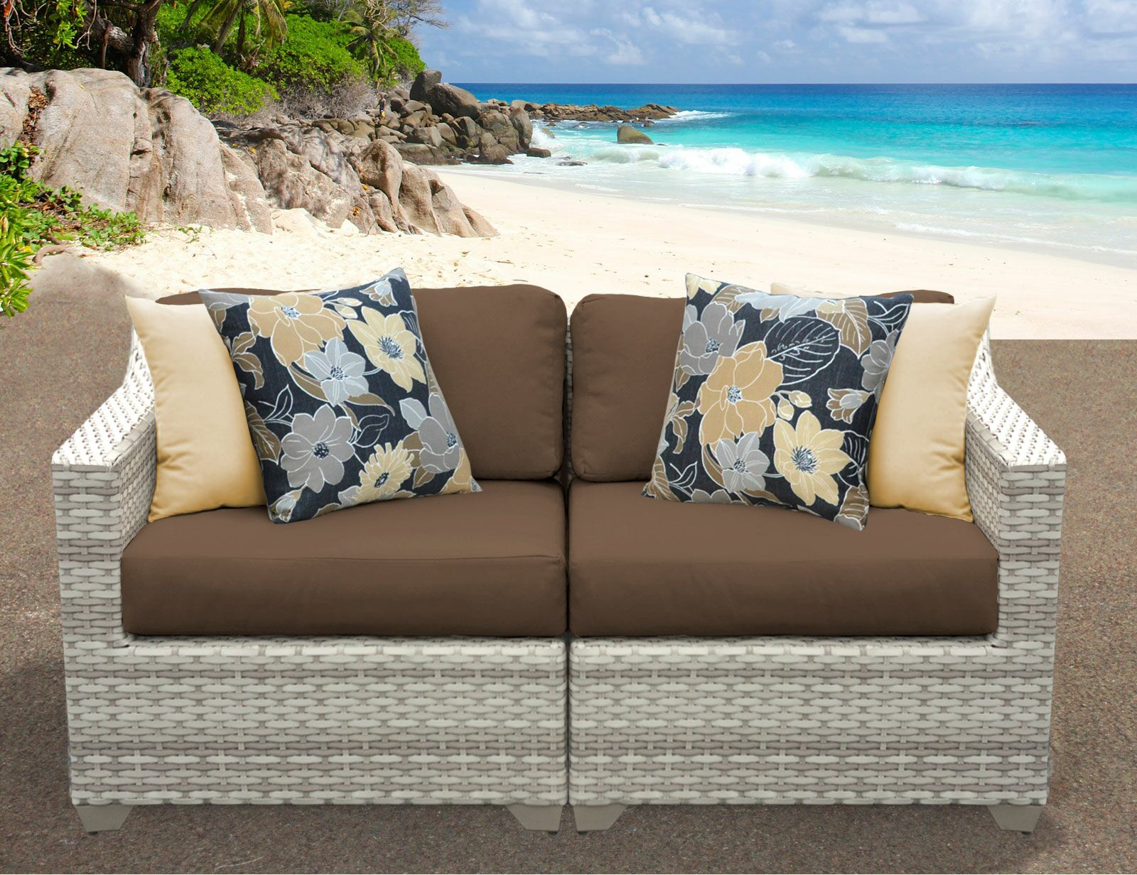 Ansonia Patio Sofa with Cushions Color: Cocoa