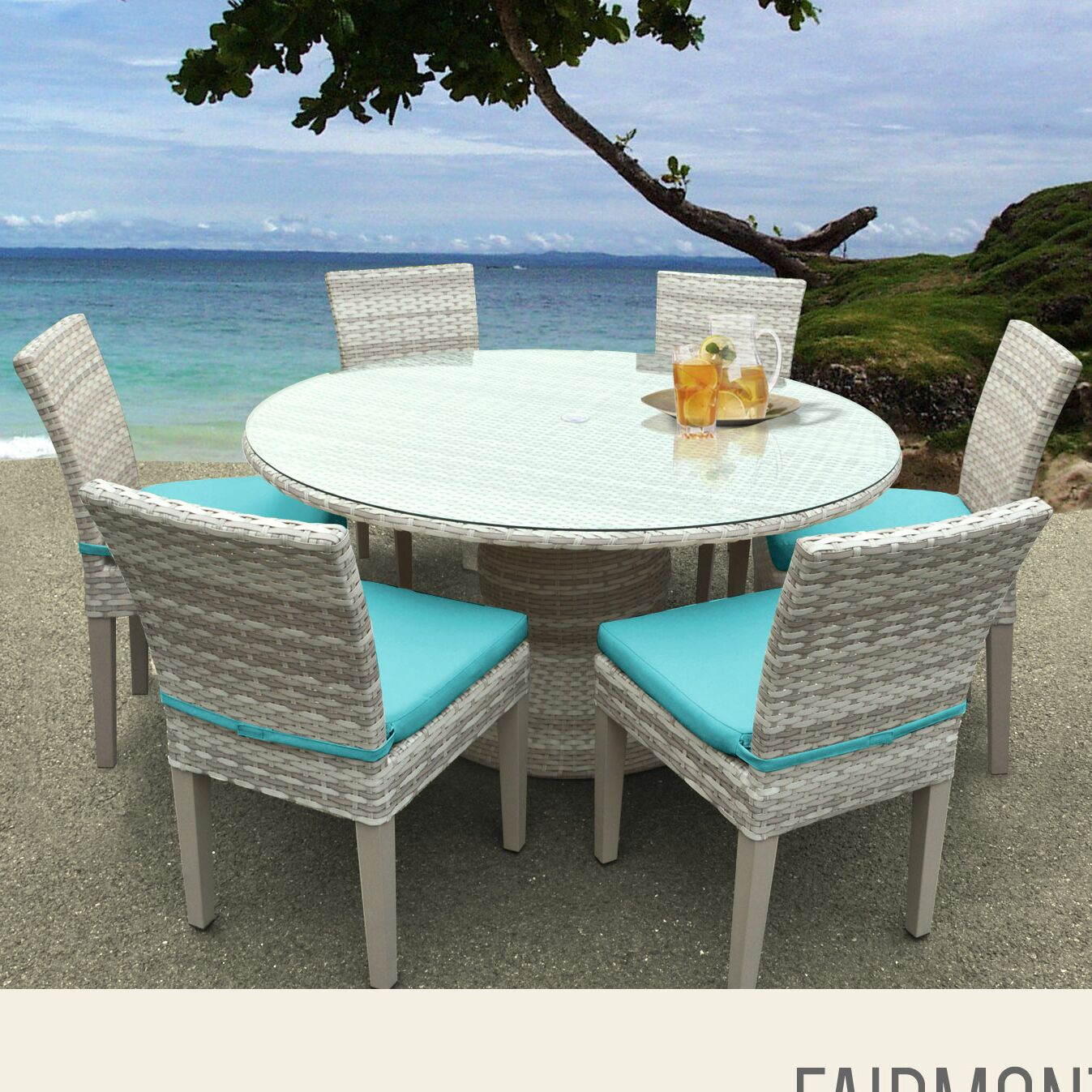 Ansonia 7 Piece Dining Set with Cushions Color: Aruba