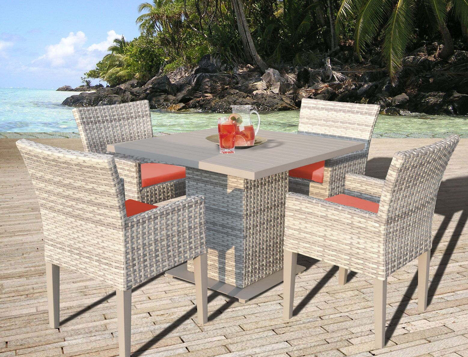 Ansonia 5 Piece Outdoor Dining Set with Cushion Color: Tangerine