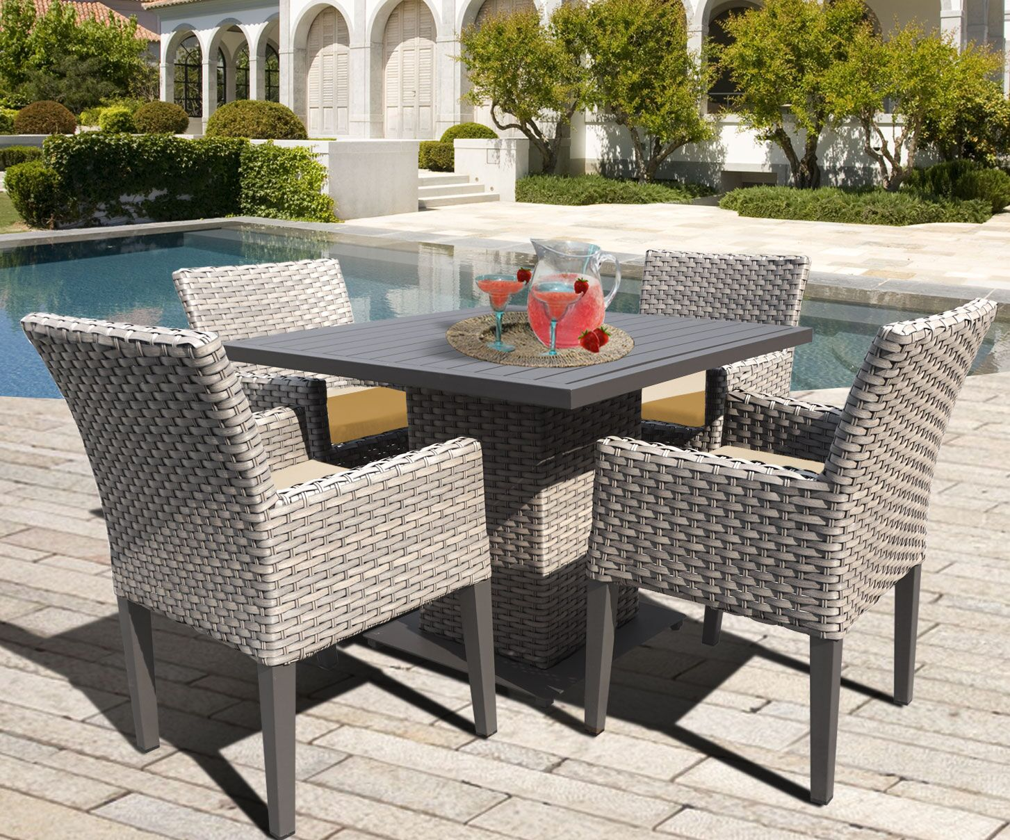 Oasis 5 Piece Dining Set with Cushions Color: Sesame
