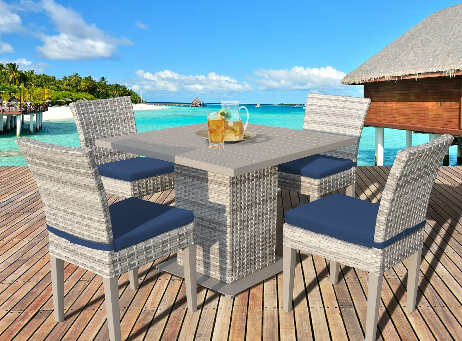 Ansonia 5 Piece Dining Set with Cushions Color: Navy