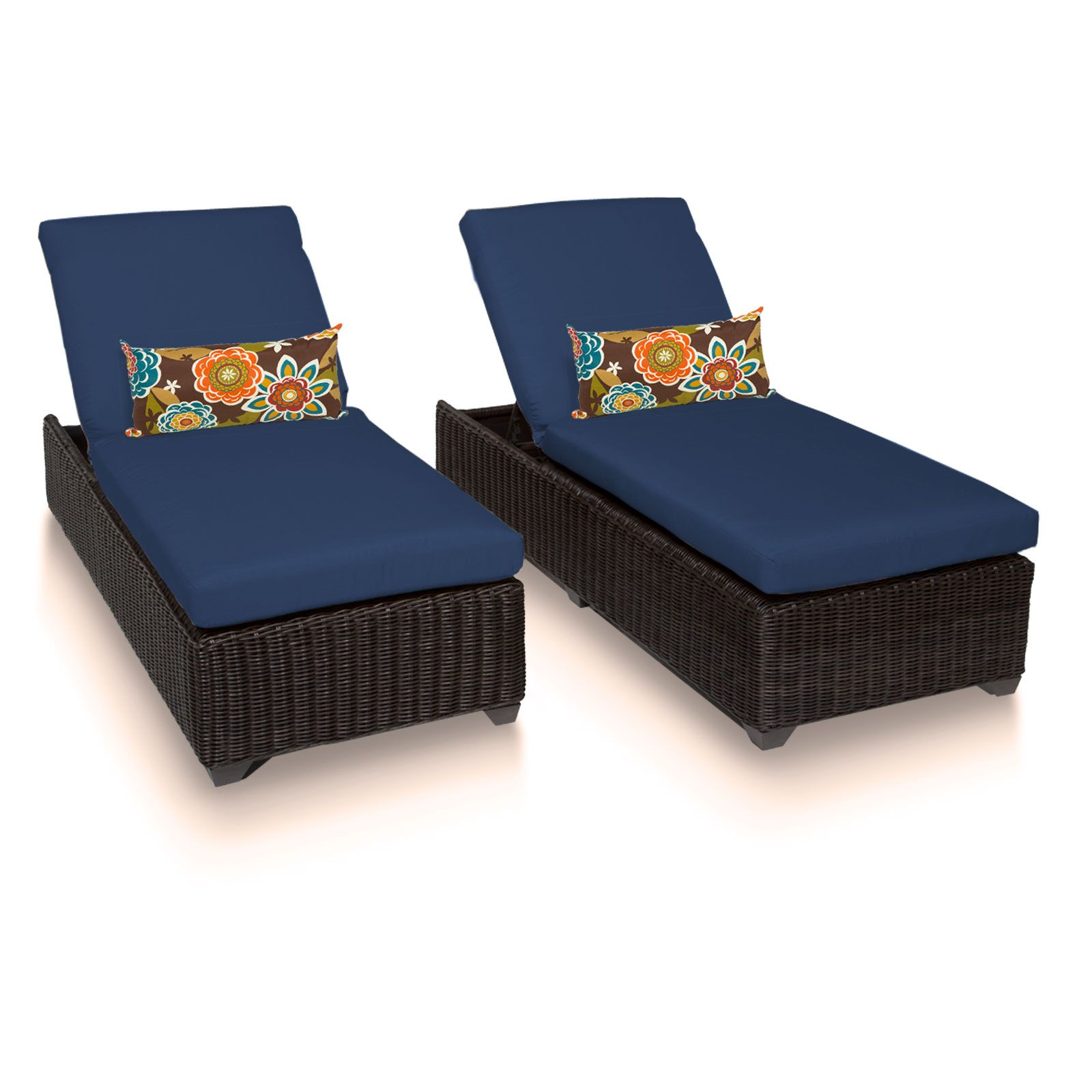 Eldredge Chaise Lounge with Cushion Color: Navy