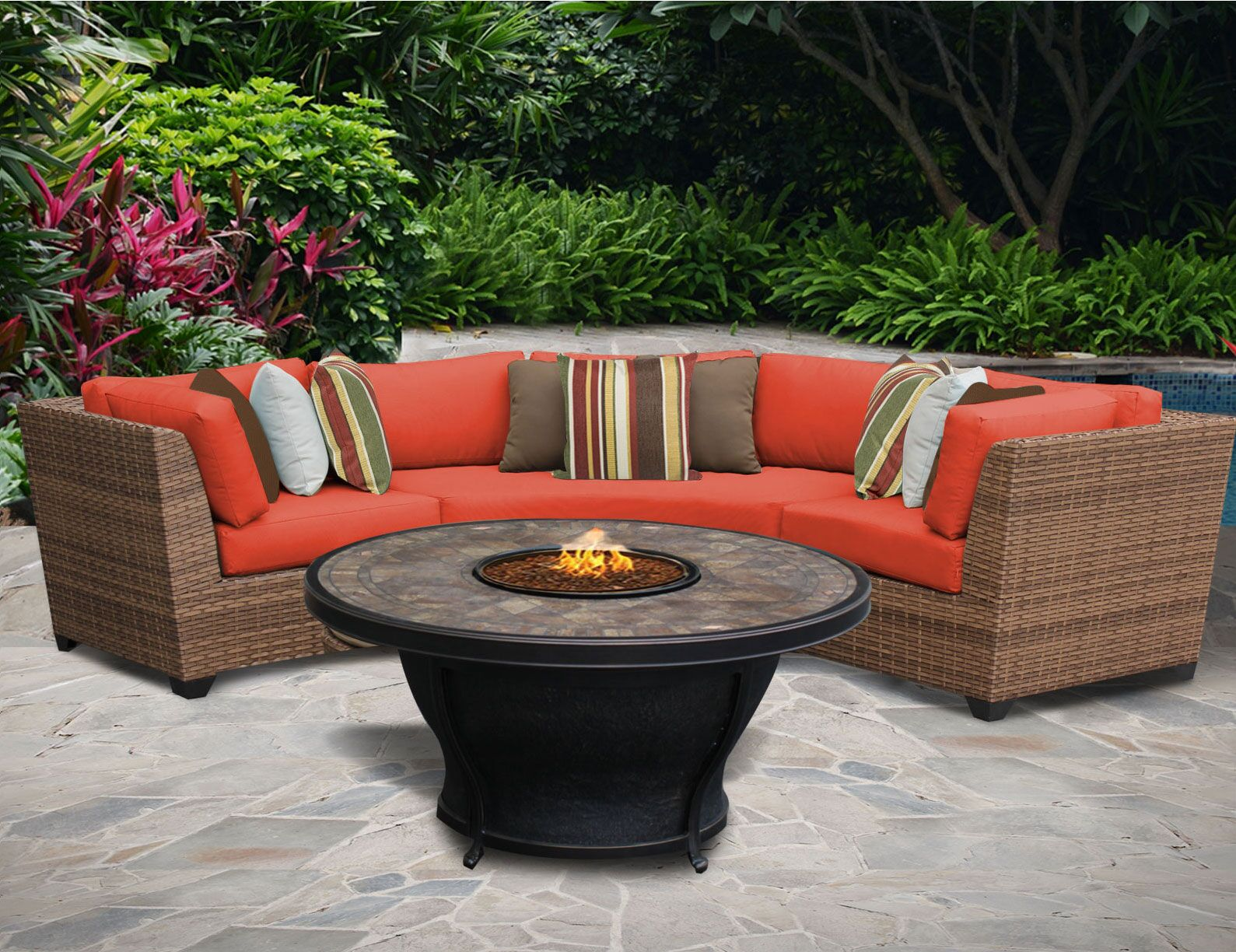 East Village 6 Piece Sectional Set with Cushions Color: Tangerine