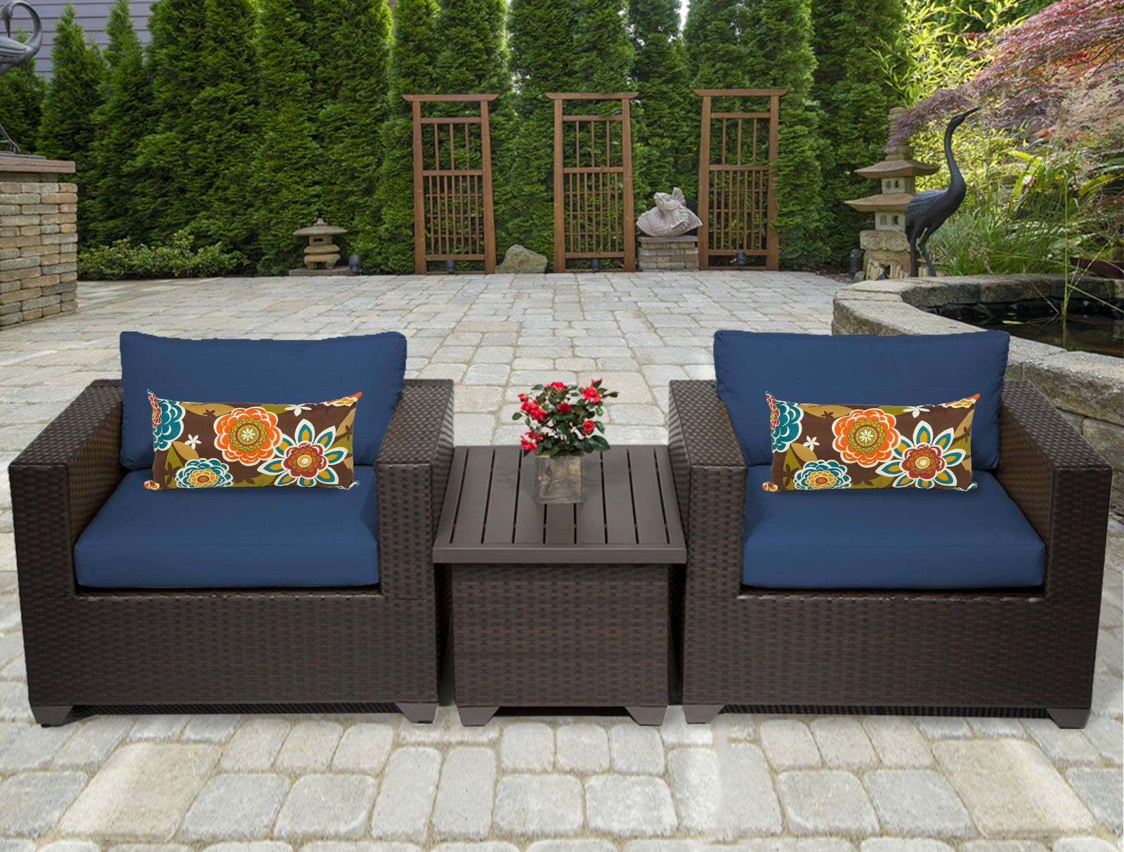 Belle 3 Piece Rattan Conversation Set with Cushions Fabric: Navy