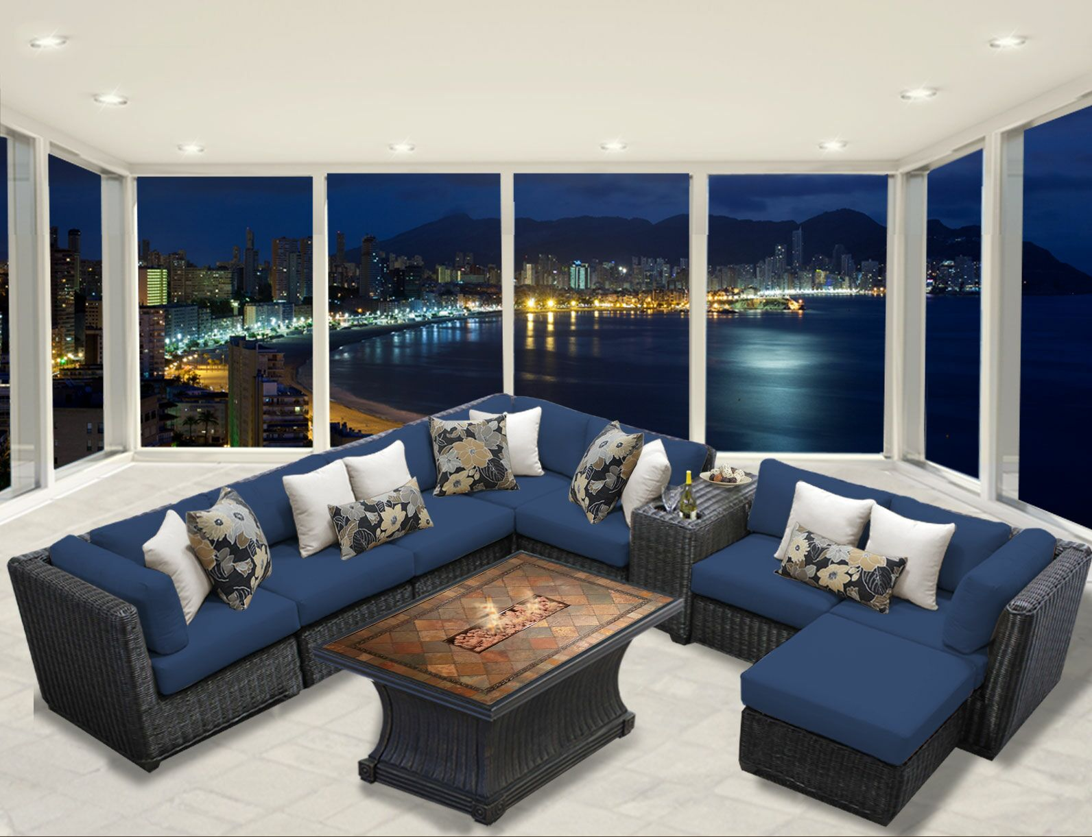 Eldredge 10 Piece Sectional Set with Cushions Color: Navy