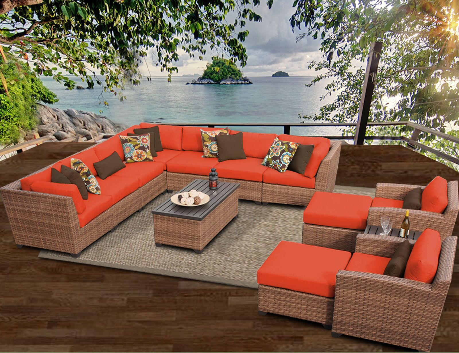 East Village 13 Piece Rattan Sectional Set with Cushions Color: Tangerine
