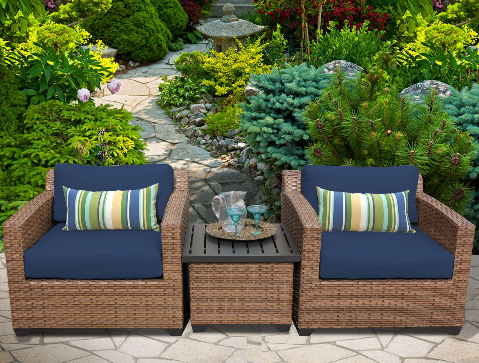 East Village 3 Piece Rattan Sectional Set with Cushions Color: Navy