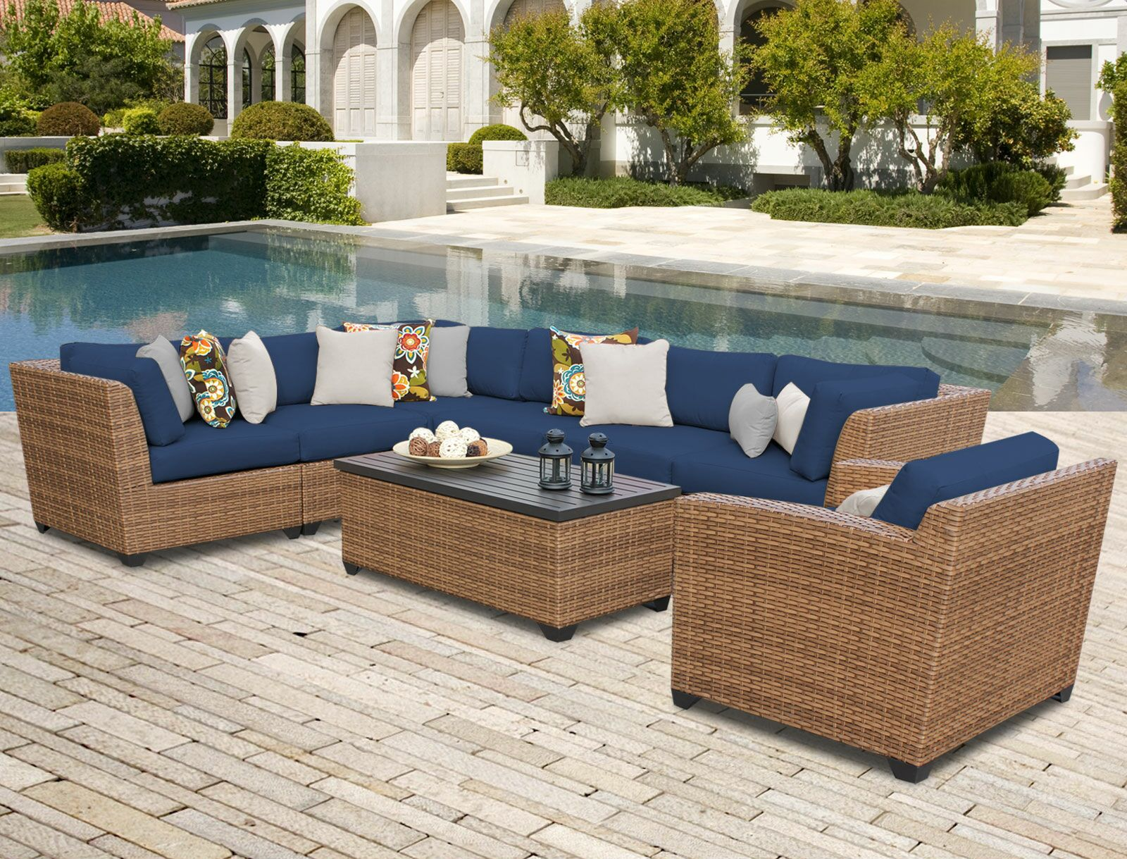 East Village 8 Piece Rattan Sectional Seating Group with Cushions Color: Navy